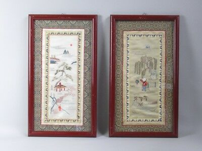 2 Vintage Paintings Tapestry Oriental Chinese Fabric Sewn In Hand With Frame