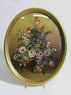 Vintage Frame Oval Wooden Golden With Painting Miniature Painting Floral '900