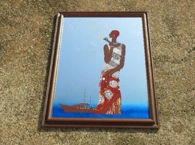 Vogue Vintage Mirror Style Belle Epoque Woman Ship With Frame Wood 78Cm
