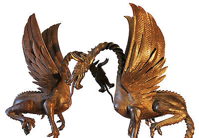 Rare Large Unique Antique English Wrought Iron Pair Of Dragons Must See.