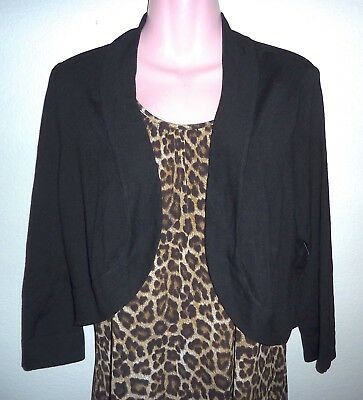 NEW $49 Eliza J 3/4 Length Sleeve Black Crop Cardigan/Shrug XL