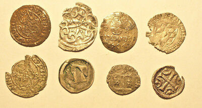 Austria/Hungary 8 silver medieval coins  12th-16th century - nice lot    #85