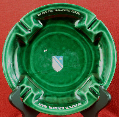 1950s-60s Vintage White Satin Gin Baltimore MD Tavern Ashtray Made in USA - LOOK