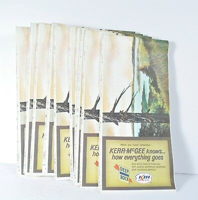 Lot of 10 Vintage NOS Deep Rock Kerr McGee Road Maps Central Western US 1976 Gas
