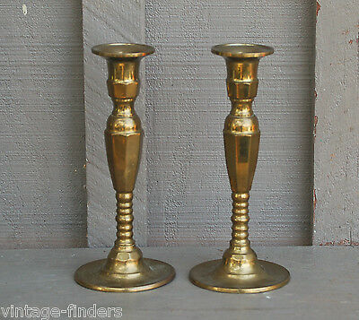 "Old Vintage Solid Brass Pair of Candlestick Holders ~ Mantel Decor 8"" Tall"