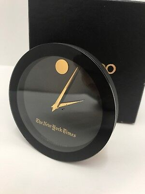 """Rare Movado Swiss Made Desk & Table Clock 4""""  Black & Gold The New York Times"""