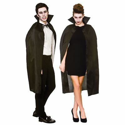 Adult Vampire Black Cape With Collar Halloween Fancy Dress Party Costume Gift