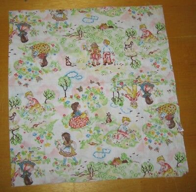 Children playing, walking, picking flowers printed on fabric 35 x 18 in