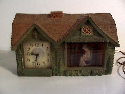 For Parts/ Rpr Vtg Haddon Model 30 Animated Lighted Shelf Clock Home Sweet Home