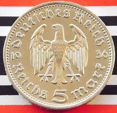 GERMAN Coin 1936 D 5 MARK REICHSMARK EAGLE Hindenburg Silver 3RD REICH WW2 +NICE