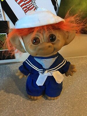 Large Uneeda Doll Troll,double Horse Shoe,wishnik,sailor Clothed,vintage,orange