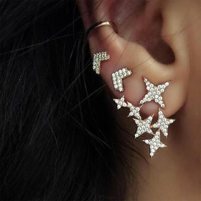 Full Jewelry Gold Alloy Earring Nail Personality Ear Studs Star Rear-Hanging