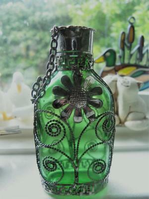 Antique  Emerald Green Glass Perfume Bottle with Silver Floral Overlay C.1910