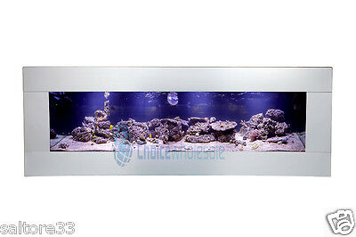 90cm NEW Stainless INTERIOR DESIGNER ARTISTIC WALL AQUARIUM FISH TANK LIVE ART