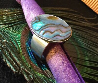 Vintage Retro Boho Hippy Natural Paua Abalone Shell Oval Adjustable Ring Sz T