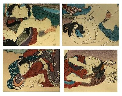 Antique Japanese Shunga Erotic Woodblock Print Set of 4