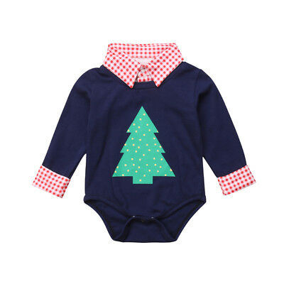 Baby Boy Rompers Christmas Tree Print Cotton Bodysuit Jumpsuit Clothes Outfits