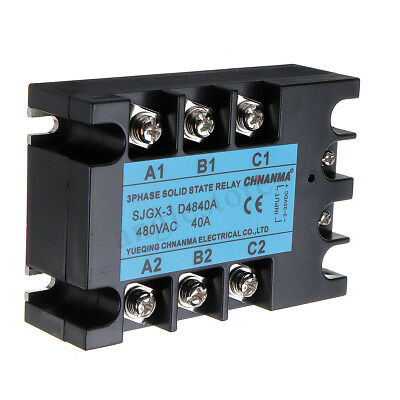 6PCS 24-480V 3-Phase Solid State Relay 40A SSR Output DC to AC 3-32V DC Control