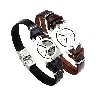 Fashion Unisex Silver Plated Stainless Steel Peace Symbol Leather Bracelet Gifts