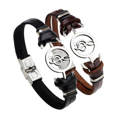 Fashion Unisex Silver Plated Stainless Steel Music Note Leather Bracelet Jewelry