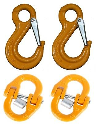 6mm Eye Sling Hook and Chain Connector Kit G80  Lifting 4x4 Rigging 1.1T WLL