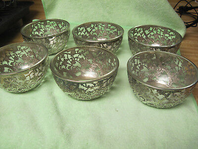 K Uyeda 970 Solid Sterling Silver Bowl ornate with glass insert set of 6