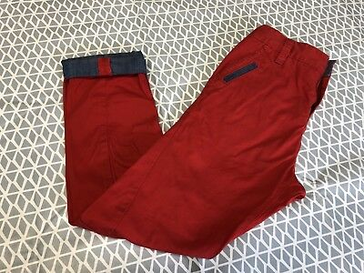 Boys Next Red Twist Leg Chino Trousers Age 8 Denim Accents
