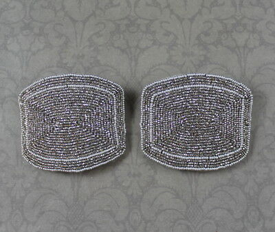 Pair of Vintage Art Deco 1920s French Cut Steel Beaded Shoe Buckles