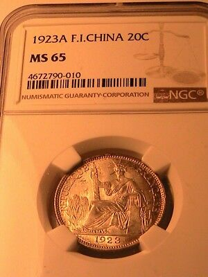 1923 French Indochina 20C NGC MS-65 Lustrous Gem BU Light Gold Tone Silver Coin