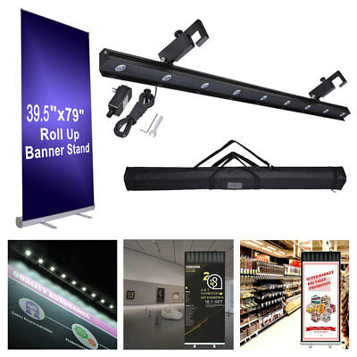 "40x79"" Retractable Roll Up Banner Stand LED Light Kit w/ Bag Trade Show Display"