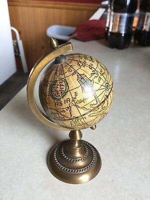 Vintage Small Desk Old World Globe, brass stand, made in Italy