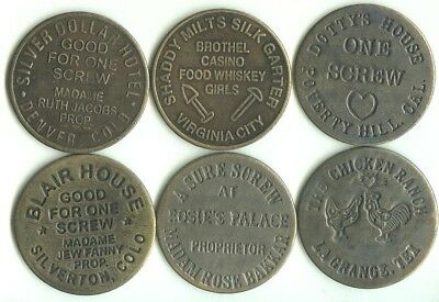SET OF 6 DIFFERENT BROTHEL TOKENS (the Chicken Ranch, etc.)