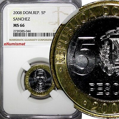 DOMINICAN REPUBLIC 2008 5 Pesos NGC MS66 Sanchez GEM BU COIN KM 89