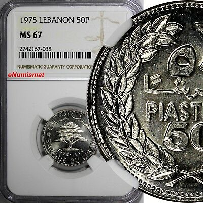 Lebanon Nickel 1975 50 Piastres NGC MS67 PROOF LIKE TOP GRADED BY NGC KM# 28.1