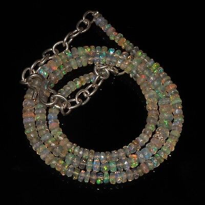 """47TCW 3-5MM16""""NATURAL GENUINE ETHIOPIAN FIRE OPAL FACETED BEADS NECKLACE-p509"""
