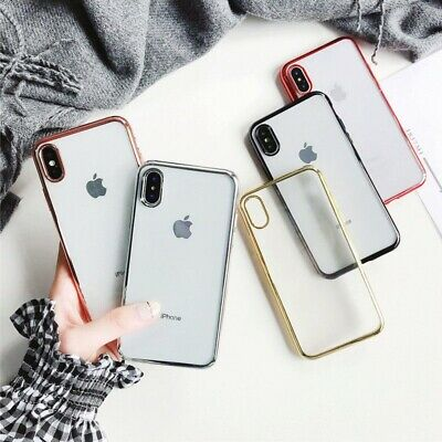 iPhone X XS Max XR Soft Clear Ultra Slim Gel Cover Electroplate case for Apple