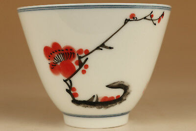 wonderful noble Art chinese porcelain hand paiting flower tea bowl cup 001