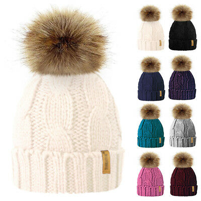 New Women Kids Baby Mom Warm Winter Knit Beanie Fur Pom Pom Hat Crochet Ski Cap