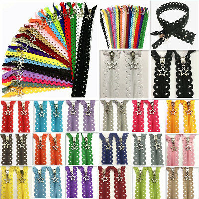 16inch Star Lace Closed End Zippers 3# Nylon Sewing( 5-200Pcs) (20 color)