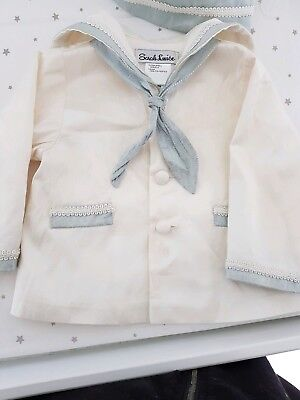 Sarah Louise Baby Boy Christening Sailor Jacket And Hat Combo 6m