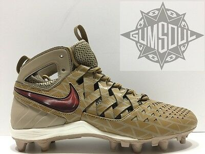 NIKE HUARACHE V LAX ELITE LACROSSE CLEATS  KHAKI RED GOLDEN 807120 200 sz 12