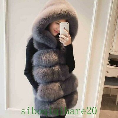 New Real Womens Fox Fur Hooded Mid Long Sleeveless Vest Jacket Coat Outwear SIBO