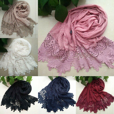 Women Floral Lace Edges Hijab Shawl Cotton Muslim Scarves Scarf Plain Maxi Scarf