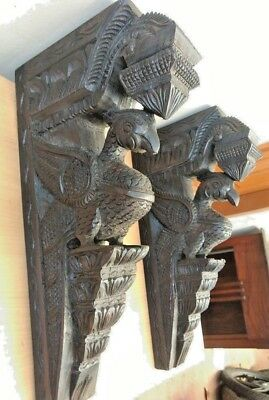 Wall Wooden Corbel Pair Bracket Vintage Peacock parrot Sculpture Home Decor rare