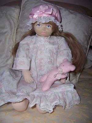 Cloth Doll Pauline Bjonness-Jacobsen Original Outfit Sculptured Face Pink Teddy