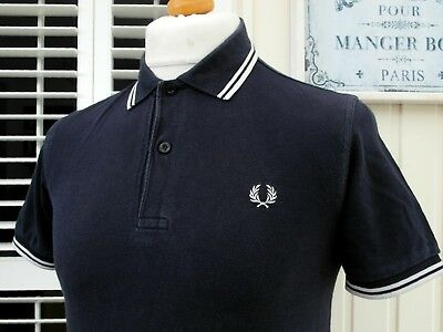Fred Perry M1200 Navy Twin Tipped Pique Polo - S/M - Ska Mod Scooter Casuals