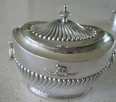 Gilt Lined Solid Silver Covered Sugar Bowl by Carrington & Co London 1903