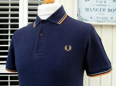 Fred Perry M1200 Purple Twin Tipped Pique Polo - S/M - Ska Mod Scooter Casuals