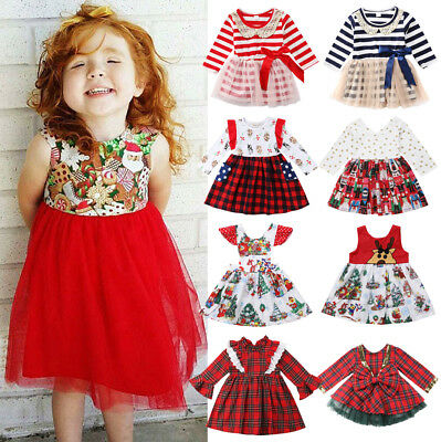 AU Seller Christmas Kids Baby Girls Festival Santa Party Dress Dresses Clothes