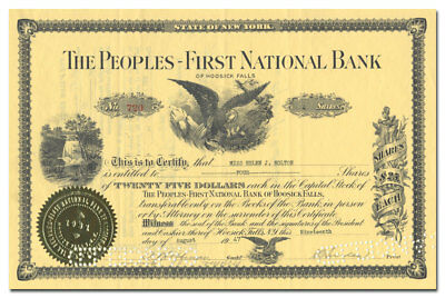 Peoples-First National Bank of Hoosick Falls Stock Certificate (New York)